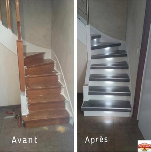 r novation d 39 escaliers bois pierre m tal un escalier design silencieux. Black Bedroom Furniture Sets. Home Design Ideas