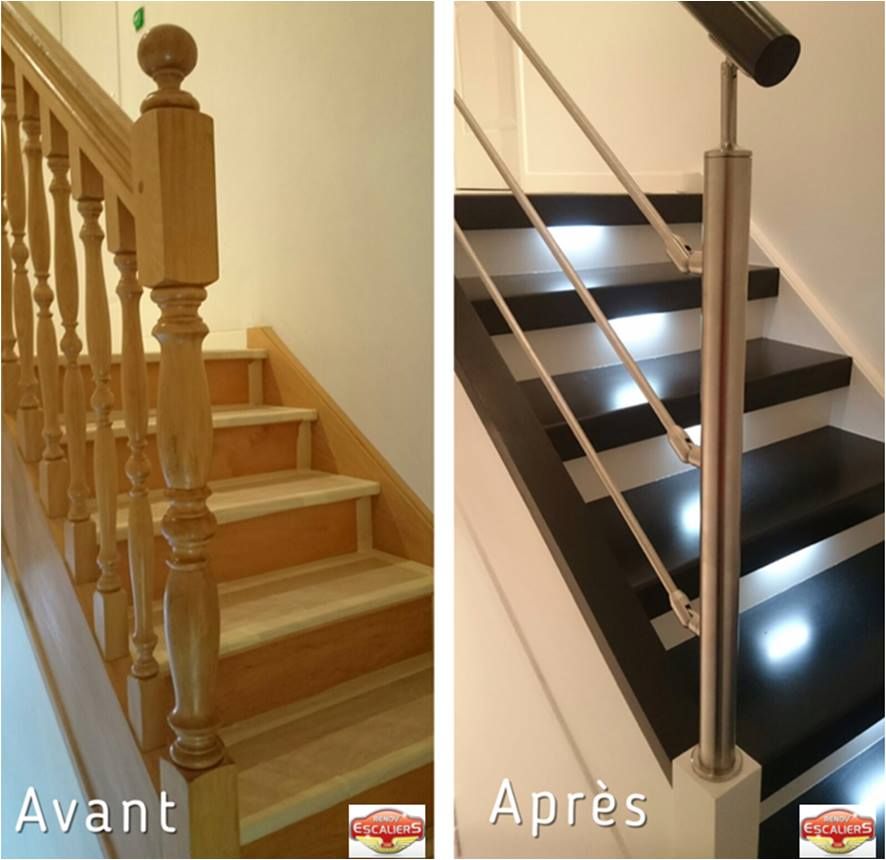 r novation d 39 escaliers bois pierre m tal un escalier. Black Bedroom Furniture Sets. Home Design Ideas