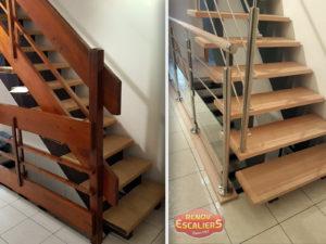 renovation escalier bois typique ancien region havre par habillage en normandie avant apres